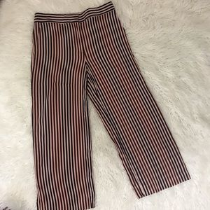 Ann Taylor Striped Wide Leg Cropped Rayon Pants
